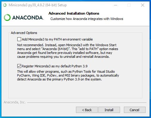 conda install advanced options (W10)