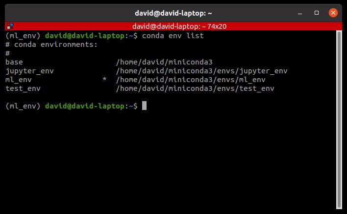 conda env list command